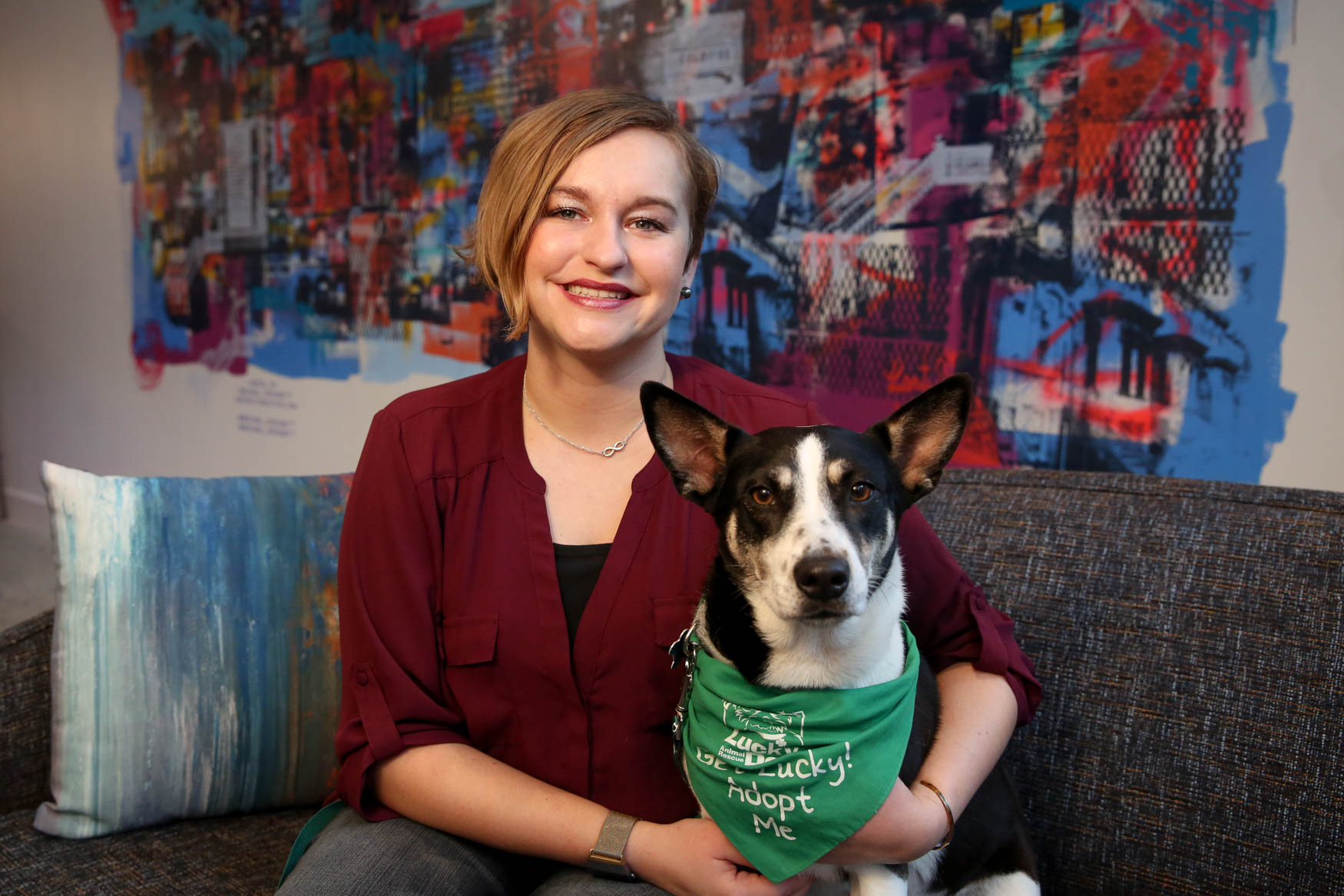 Meet{ } Oreo and Marieke, a a 3-year-old Shepherd/Husky mix, and a 28-year-old human respectively. Photo location: Moxy Washington, D.C. Downtown (Image: Amanda Andrade-Rhoades/ DC Refined)