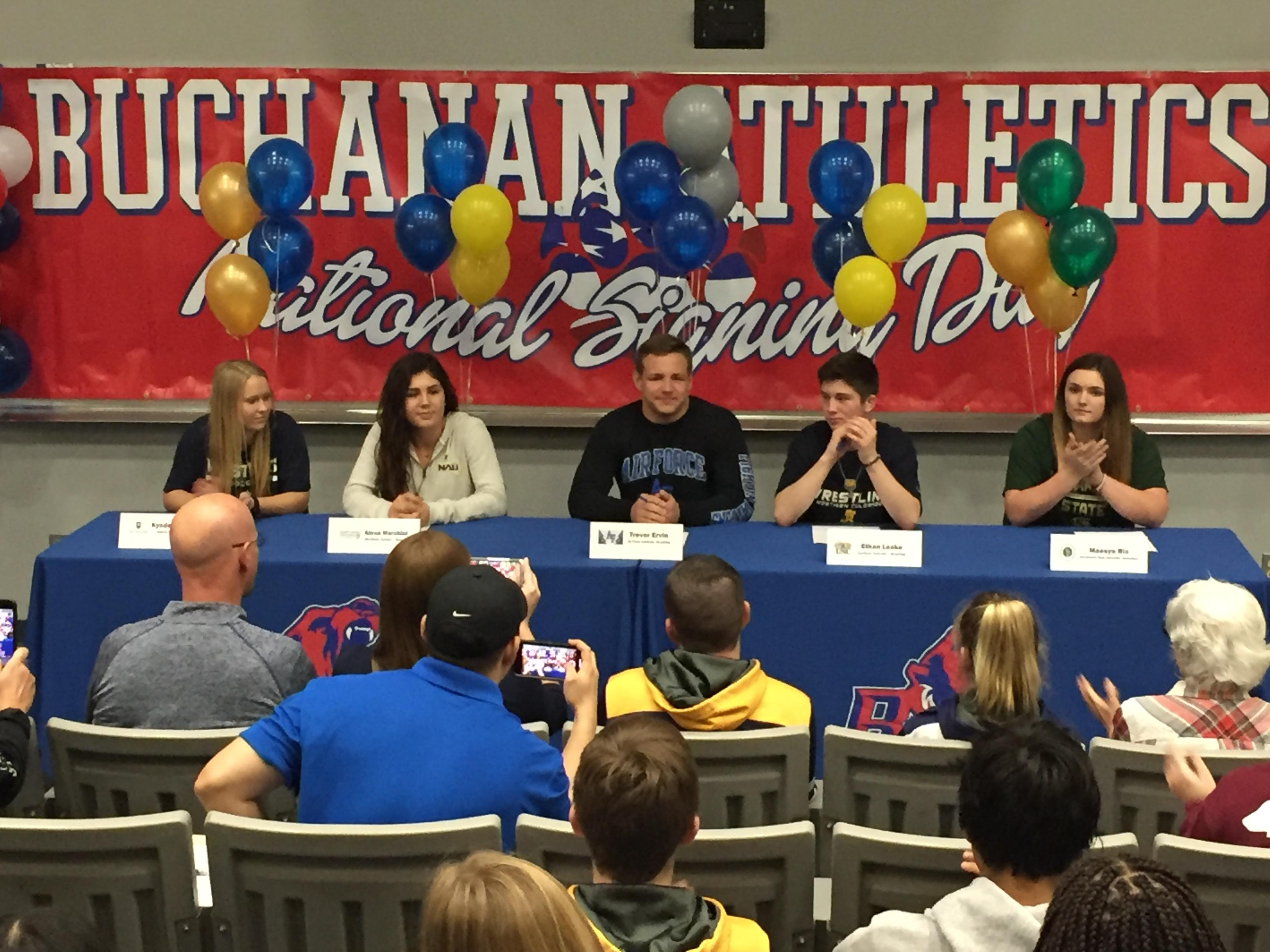 Buchanan student-athletes sign their letters of intent. From left to right: Kyndel Borman, soccer, Masters University;{&amp;nbsp;}Alexa Marchini, soccer, Northern Arizona; Trevor Ervin, wrestling, Air Force Academy; Ethan Leake, wrestling, Northern Colorado; Maesyn Rix, basketball, Sacramento State.<p></p>