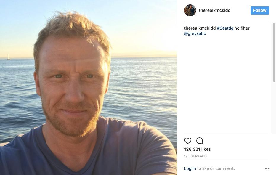 """#Seattle no filter @greysabc"" - Kevin McKidd (aka Owen Hunt) (Image: @therealkmckidd Instagram)"