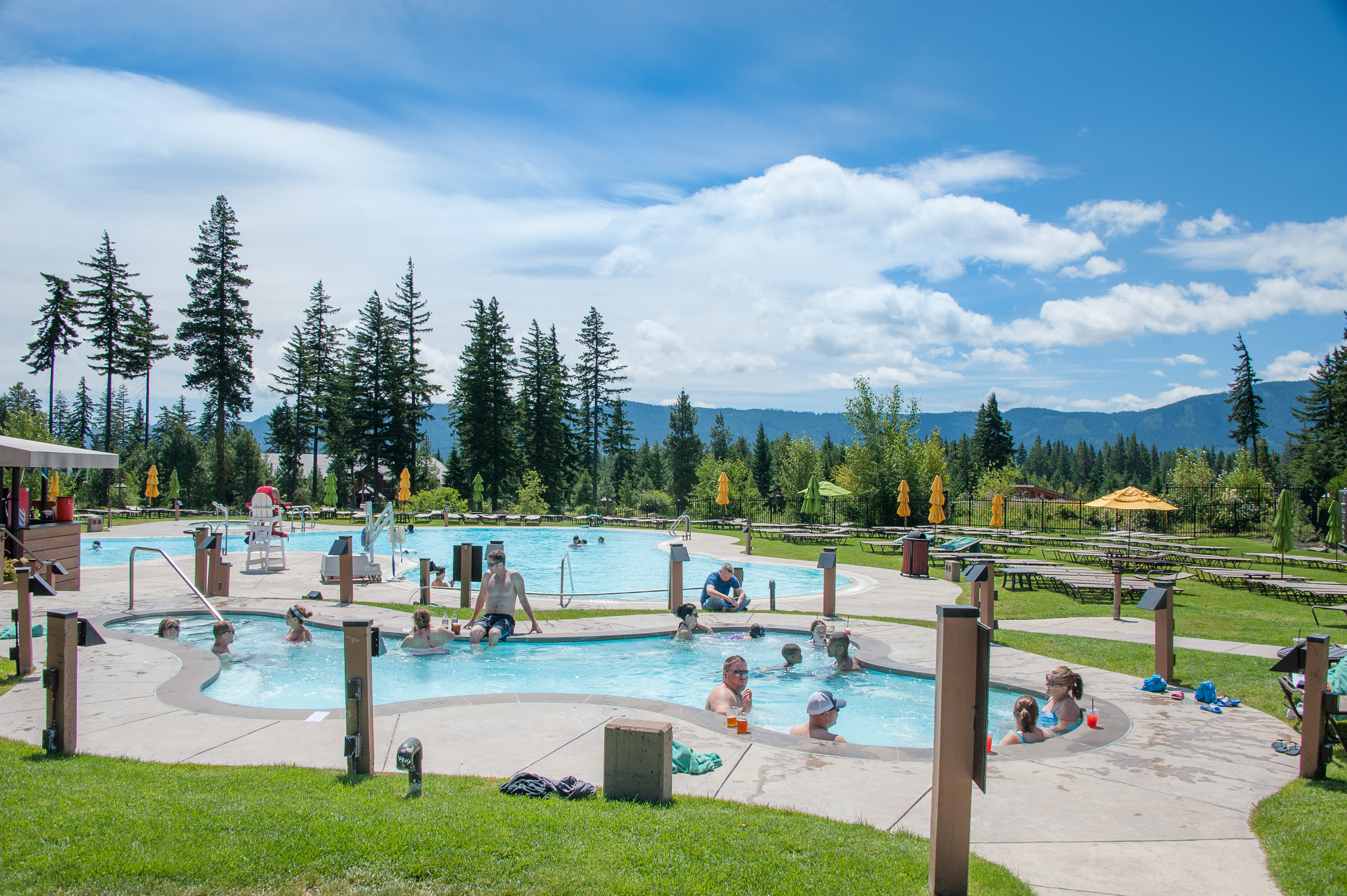 Suncadia Swim and Fitness Center is home to outdoor and indoor pools and hot tubs, two water slides, fitness equipment and a fitness class studio.