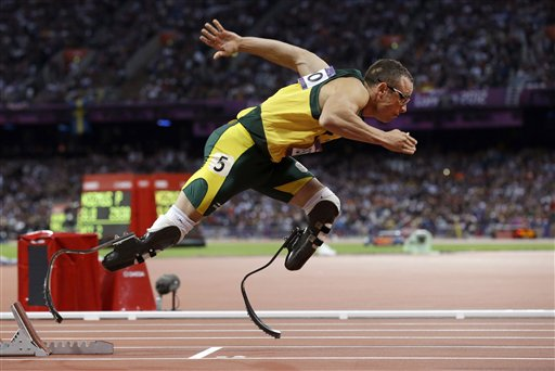 FILE -  In this Sunday, Aug. 5, 2014 file photo South Africa's Oscar Pistorius starts in the men's 400-meter semifinal during the athletics in the Olympic Stadium at the 2012 Summer Olympics, London.  A South African appeals court on Thursday convicted Oscar Pistorius of murder, overturning a lower court's conviction of the double-amputee Olympian on the lesser charge of manslaughter for shooting girlfriend Reeva Steenkamp to death in 2013.  (AP Photo/Anja Niedringhaus, File)