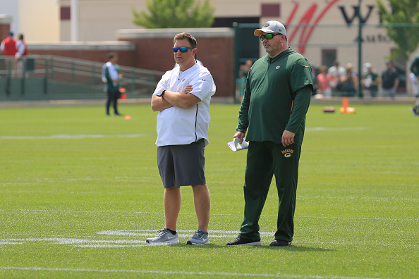 "Packers GM Brian Gutekunst (left) said ""We're here to win now"" when discussing why he made the roster cuts he made."
