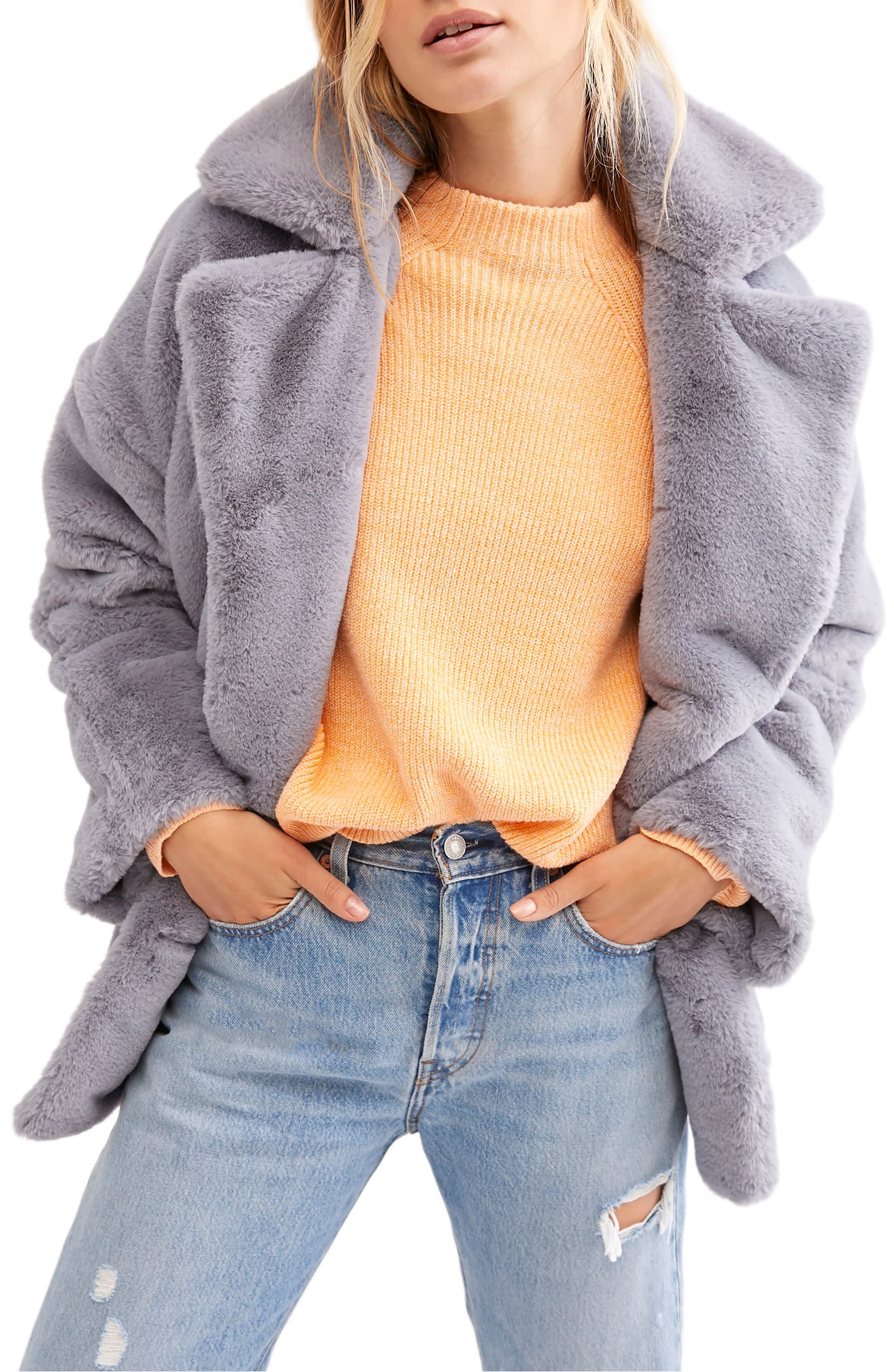 A little retro, a little rocker-chic, this fluffy faux-fur jacket is all cool. Shop it{ }- $148. (Image: Nordstrom){ }