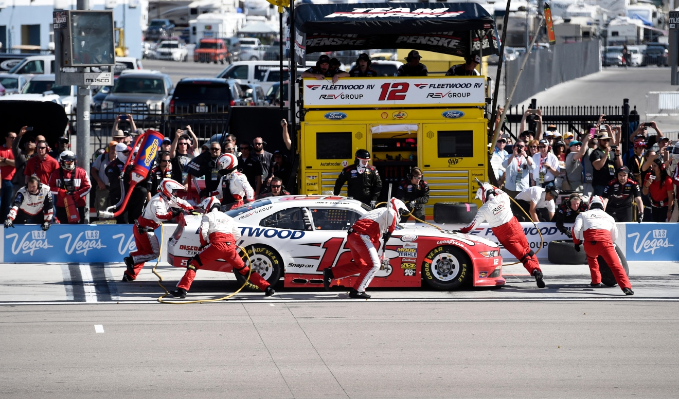 Eventual race winner Joey Logano makes a pit stop during the NASCAR Xfinity Series Boyd Gaming 300 Saturday, March 11, 2017, at the Las Vegas Motor Speedway. (Sam Morris/Las Vegas News Bureau)