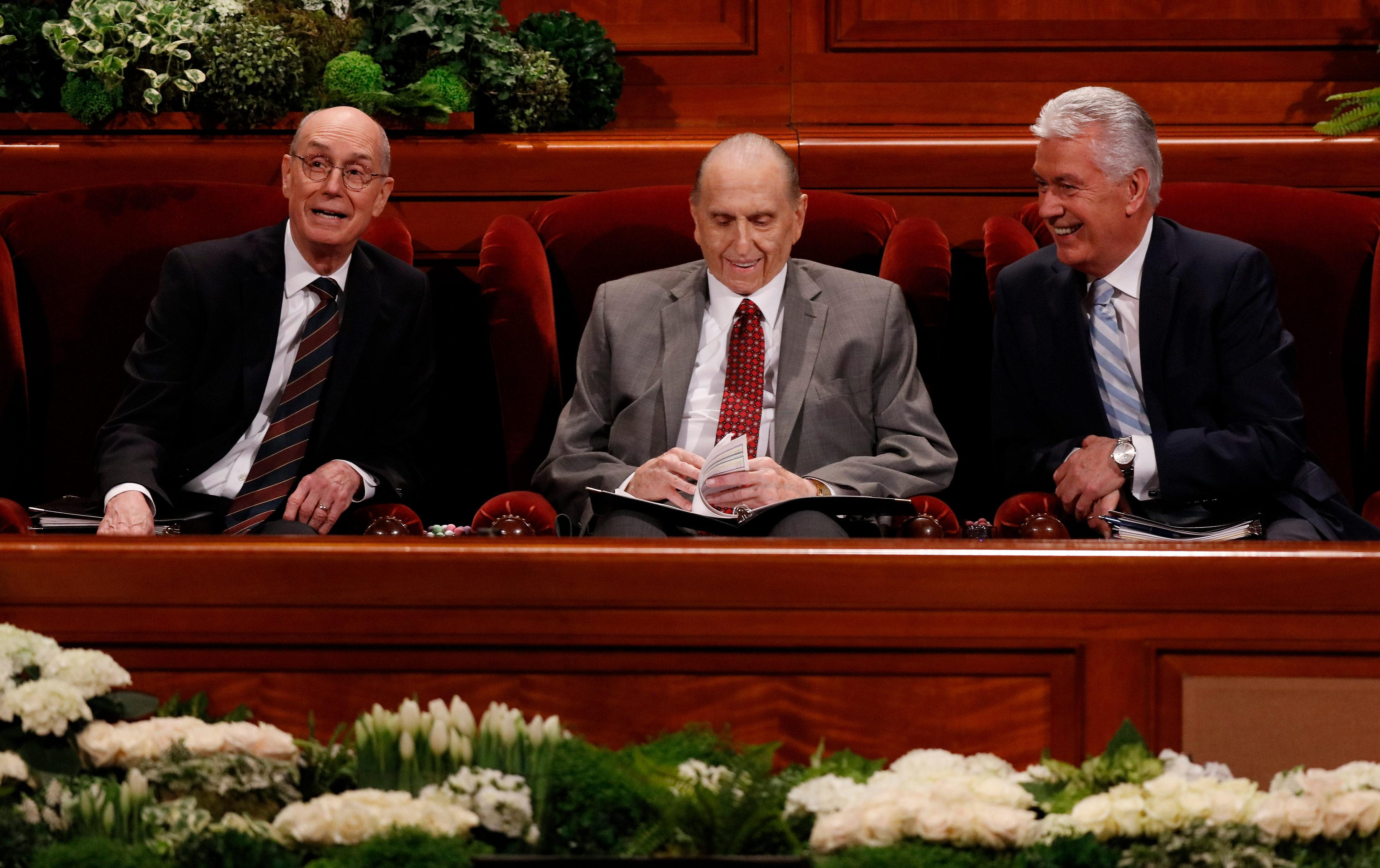 The First Presidency of The Church of Jesus Christ of Latter-day Saints at the Saturday morning session of the faith's 187th Annual General Conference. (Photo: MormonNewsroom.org){&amp;nbsp;}<p></p>