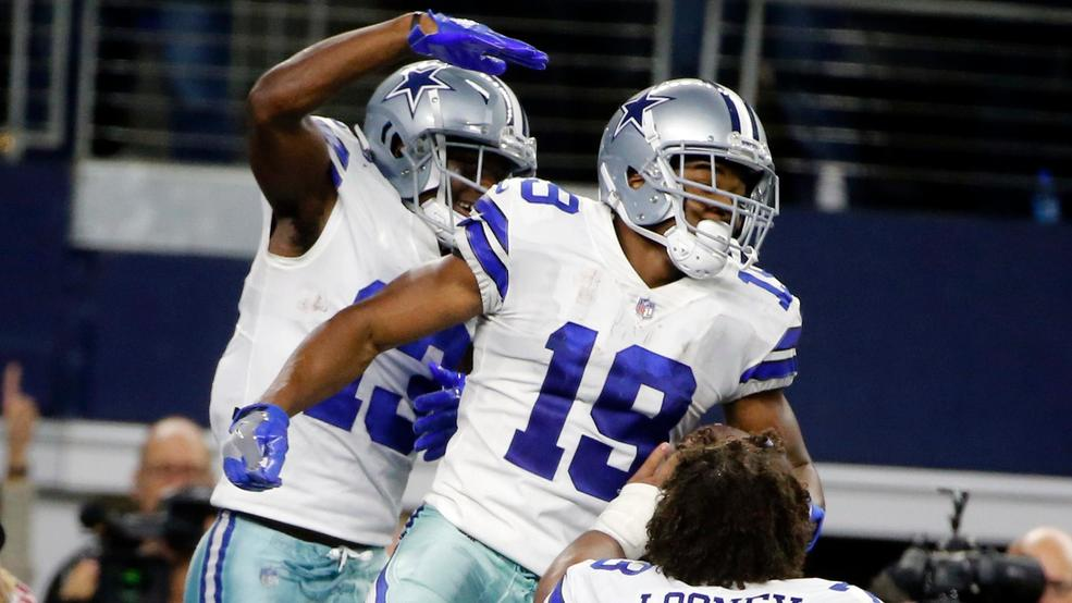 b5244db834c Dallas Cowboys wide receiver Amari Cooper (19) celebrates his touchdown  against the Philadelphia Eagles in overtime of an NFL football game, in  Arlington, ...