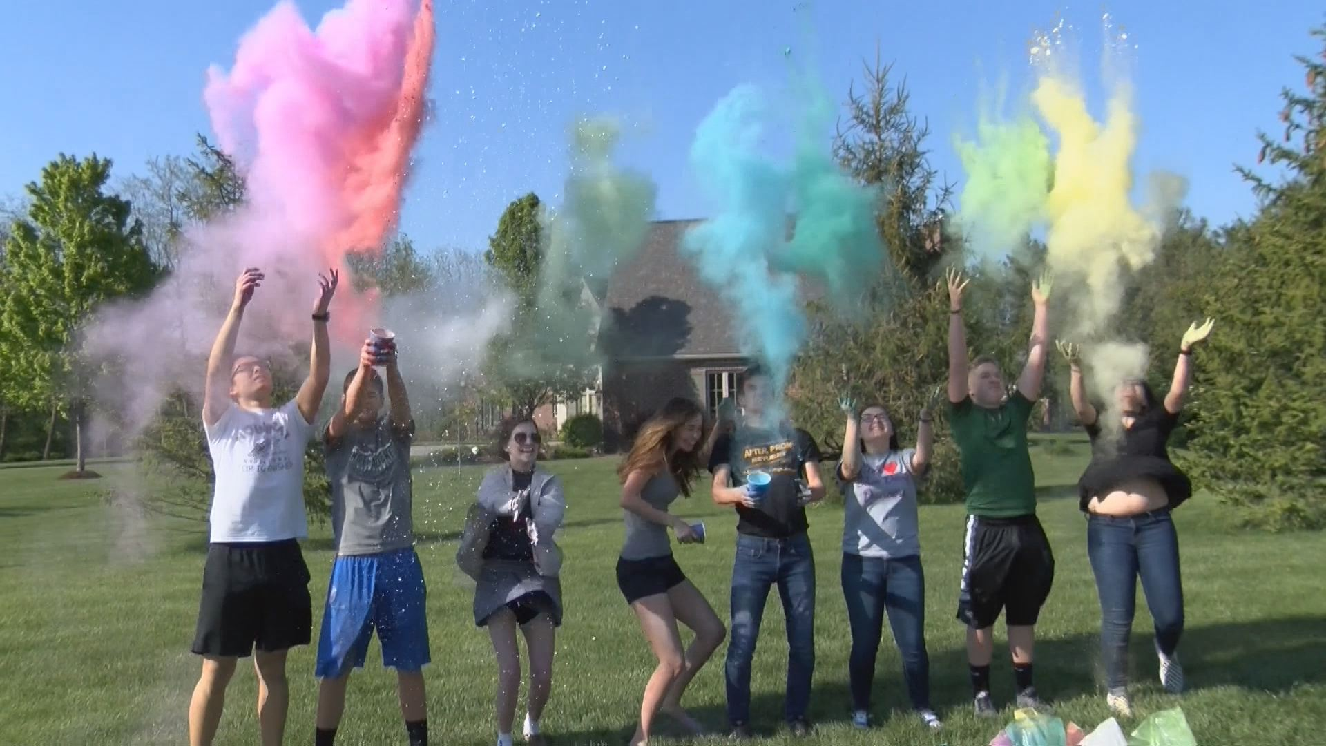 The organizers of Saturday's fun run tested out the colors ahead of Colors for Camo.