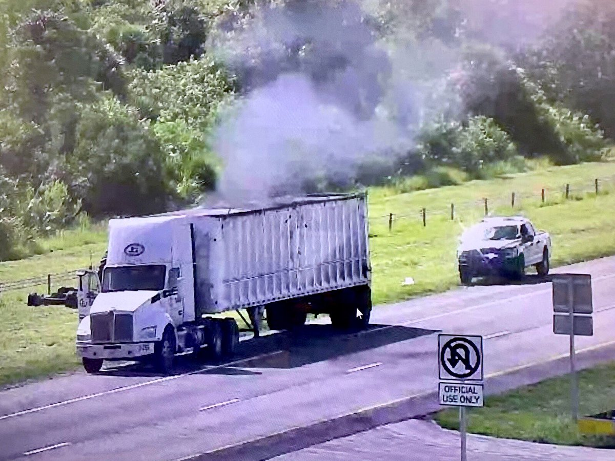 Tractor trailer catches fire on Turnpike in St. Lucie County (St. Lucie Fire District){ }