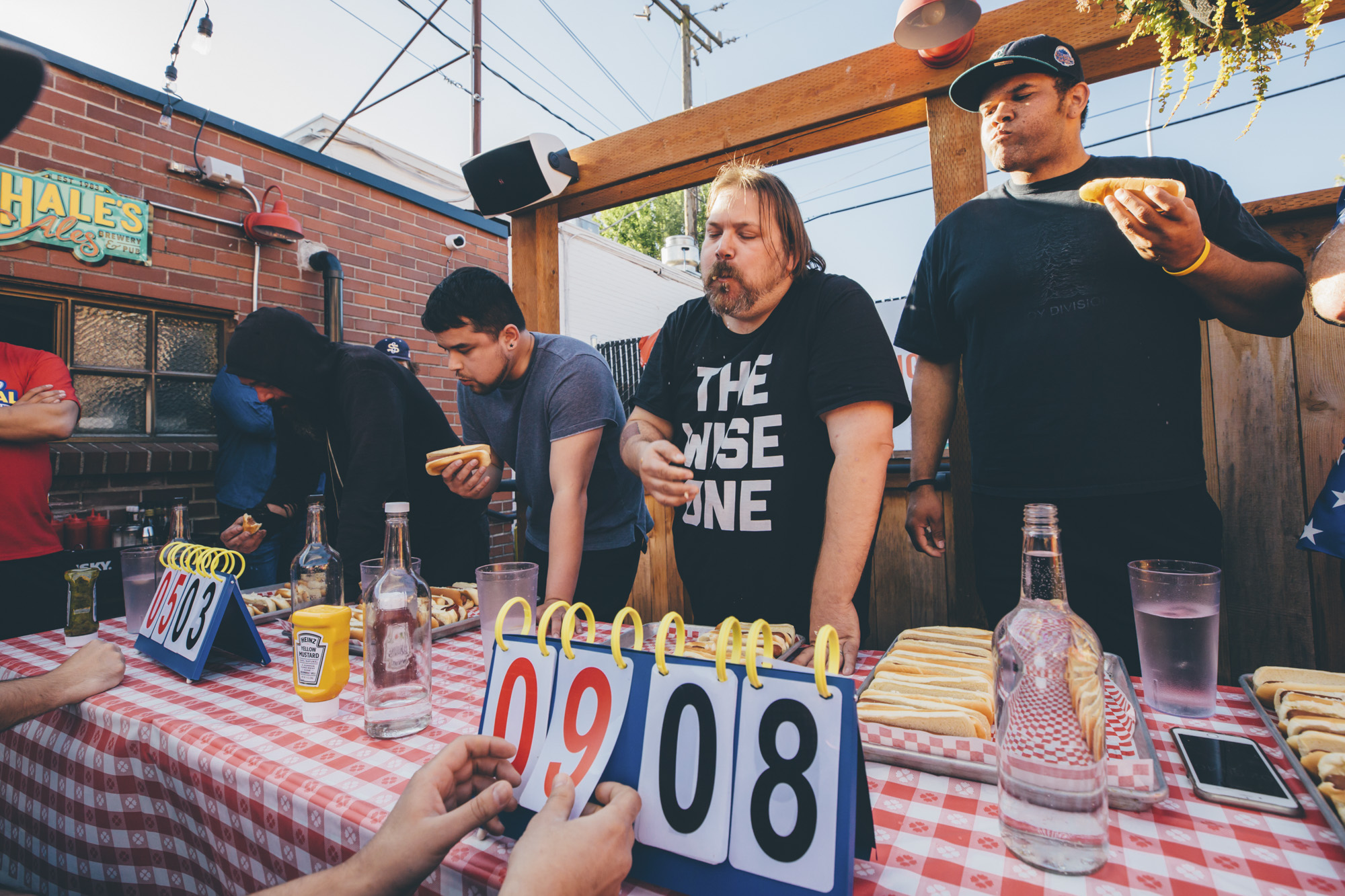 <p>Not necessarily your average Monday night, am I right?? The North Star Diner hosted a hot dog eating contest on their new patio last night, July 2, 2017. Round one pit bartenders, servers and chefs from local restaurants against each other, while round 2 was open to the general public. Let's just say...WHOA. Winners got prizes, and of course - the beloved Hot Dog Trophy. (Image: Sunita Martini / Seattle Refined)</p>