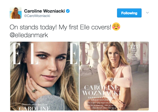 Caroline Wozniacki was featured on the cover of Elle Denmark for the first time