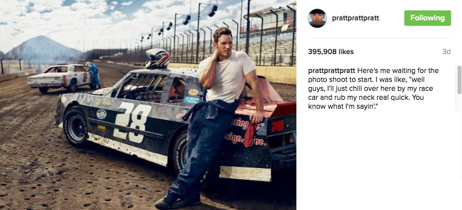 "Here's me waiting for the photo shoot to start. I was like, ""well guys, I'll just chill over here by my race car and rub my neck real quick. You know what I'm sayin'."" (Image: @prattprattpratt / instagram.com/prattprattpratt)"