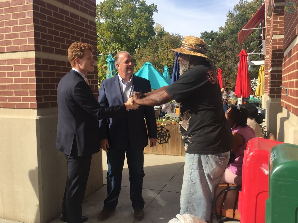 Congressman Joe Kennedy III, great-nephew of President John F. Kennedy, was in Flint Saturday and met with Congressman Dan Kildee to learn about the Flint water crisis, and spoke out about President Trump's alleged release of classified JFK files. (Photo Credit: Jasmyn Durham)