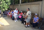 At least 50 people were in line just before Noon, excited to support Republican candidate Donald Trump during his visit to Asheville. (Photo credit: WLOS Staff)