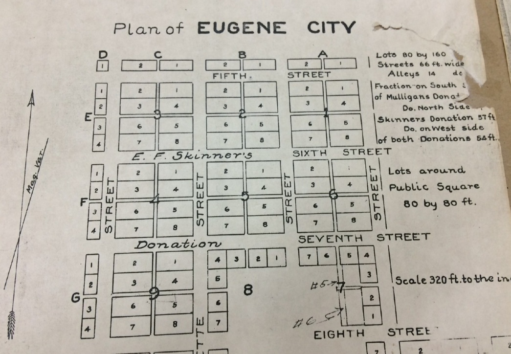 Does the fine print in Eugene Skinner's 1855 deed for the town square block a potential land swap involving the butterfly parking lot at 8th and Oak? (SBG)
