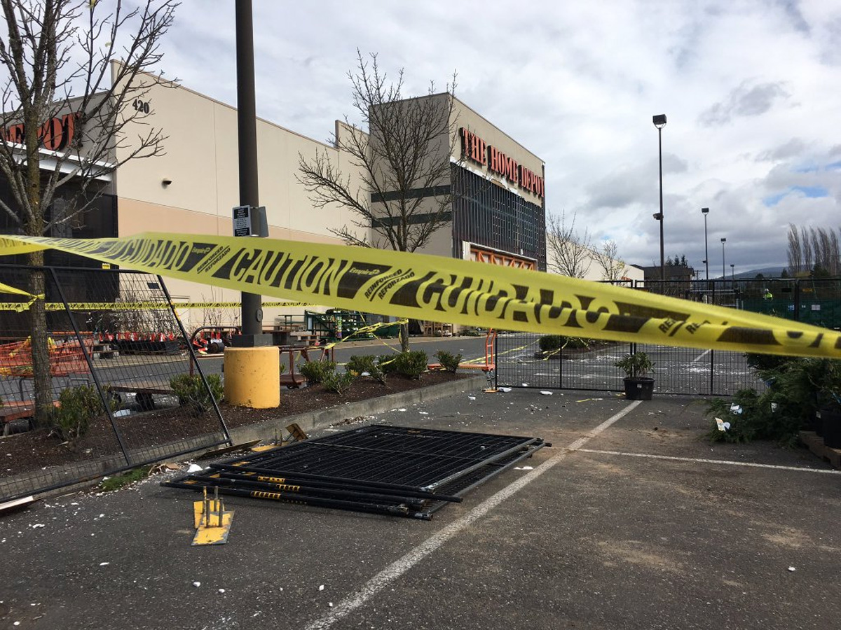Strong winds damaged the facade of the Home Depot store in Bellingham. (KOMO photo)