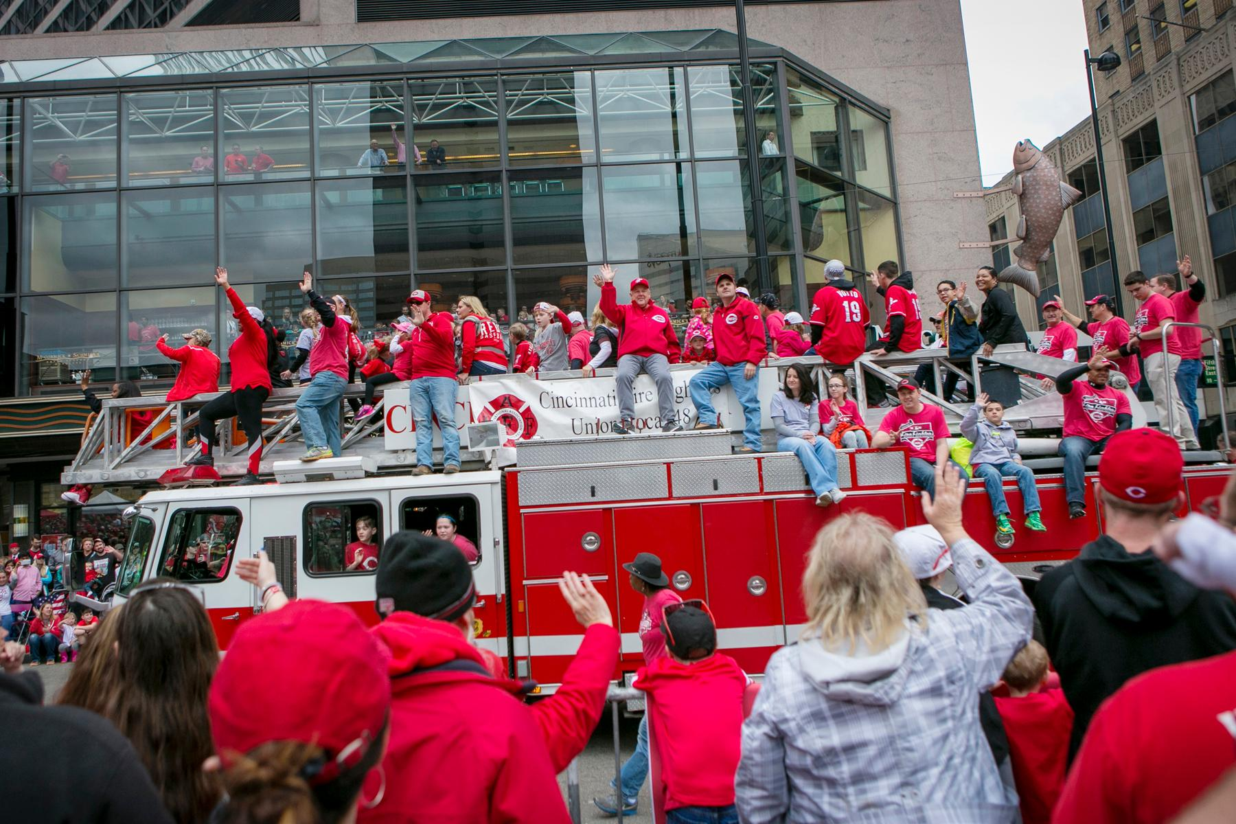 The Reds 98th annual Opening Day Parade took place on Monday, April 3. Following the parade, the Reds barely lost to the Phillies. Final score: 4-3. / Image: Mike Bresnen // Published: 4.4.17