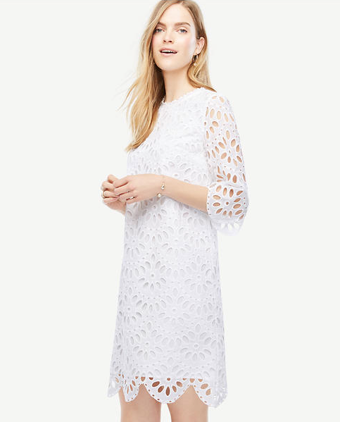 Ann Taylor Scallop Eyelet Shift Dress, $139.99, anntaylor.com (Image: Courtesy Ann Taylor)