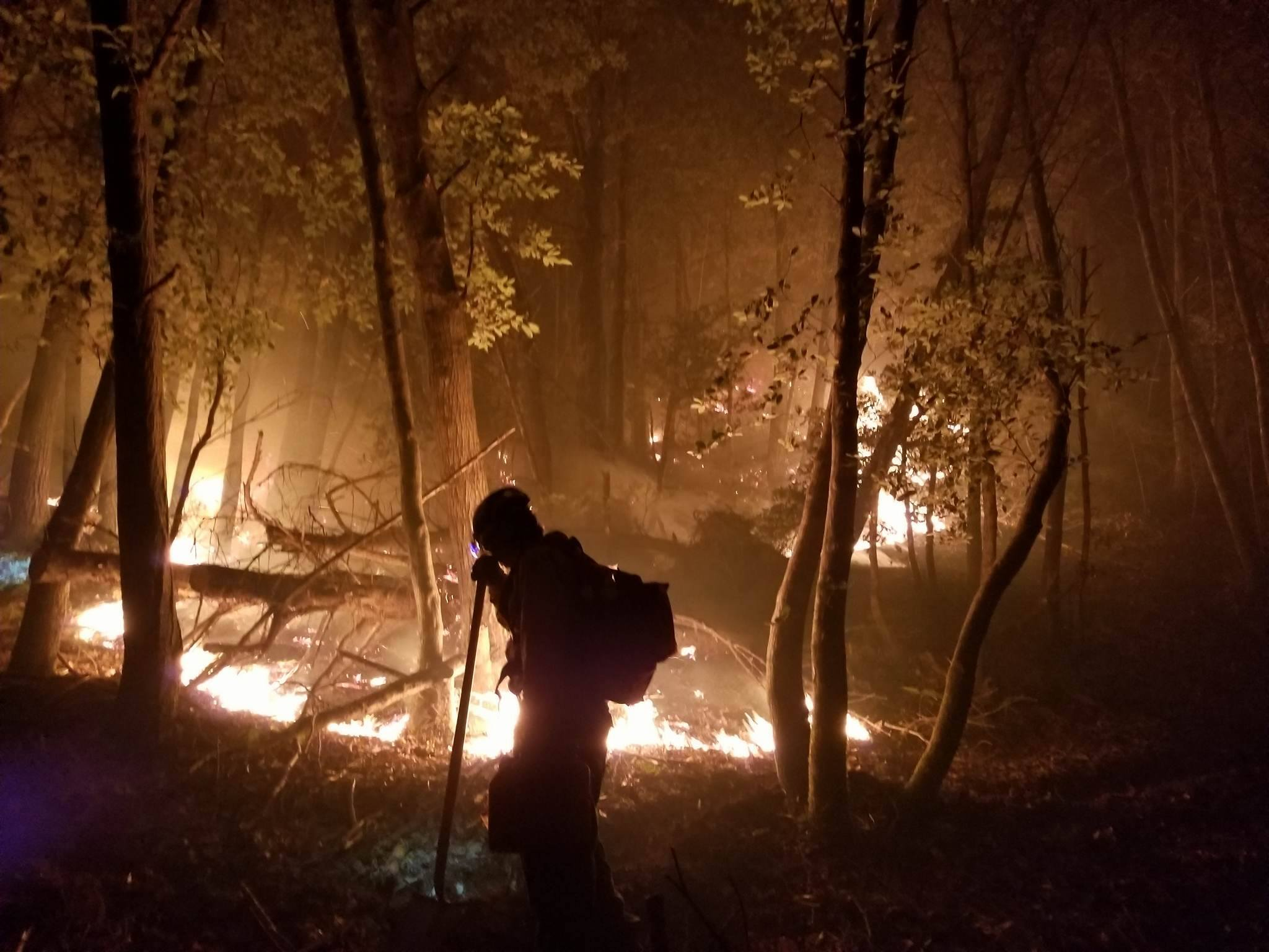 Firefighter Martin Lopez shared these photographs of night burnout operations on the Chetco Bar Fire. Photo via Rogue River-Siskiyou National