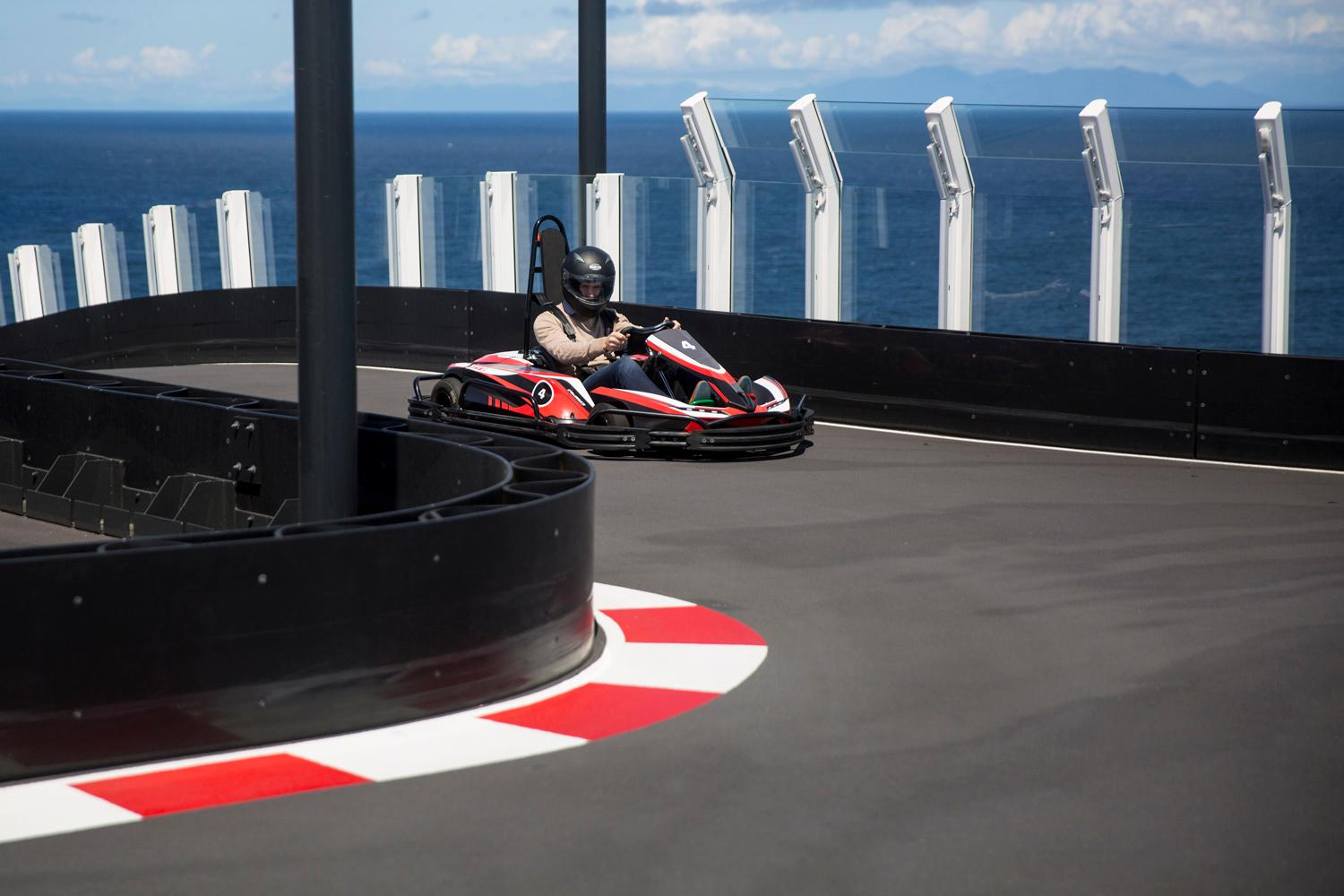 The most unique feature of the newly constructed Norwegian Bliss is that it's home to the world's longest race track on the sea, where guests can race go-karts! The newly constructed ship measures in at 1,004 feet and hosts a total of 4,004 guests, making it the 16th ship in the Norwegian Cruise Line fleet. Beginning June 2, Norwegian Bliss will cruise seven-day voyages to Alaska from Seattle with featured calls in Ketchikan, Juneau, Skagway and Victoria, British Columbia. (Sy Bean / Seattle Refined)(Sy Bean / Seattle Refined)