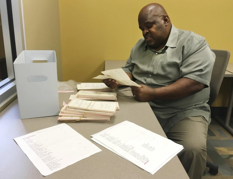 <p>In this Tuesday, May 15, 2018 photo, archivist Howard Robinson looks at court document dating from the early civil rights era at Alabama State University in Montgomery, Ala. The university is preserving court documents linked to Rosa Parks, the Rev. Martin Luther King Jr., and others that were found in a box at the county courthouse. (AP Photo/Jay Reeves)</p>