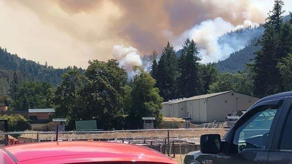 I-5 southbound slow lane, exit closed near Milepost 97 Fire in