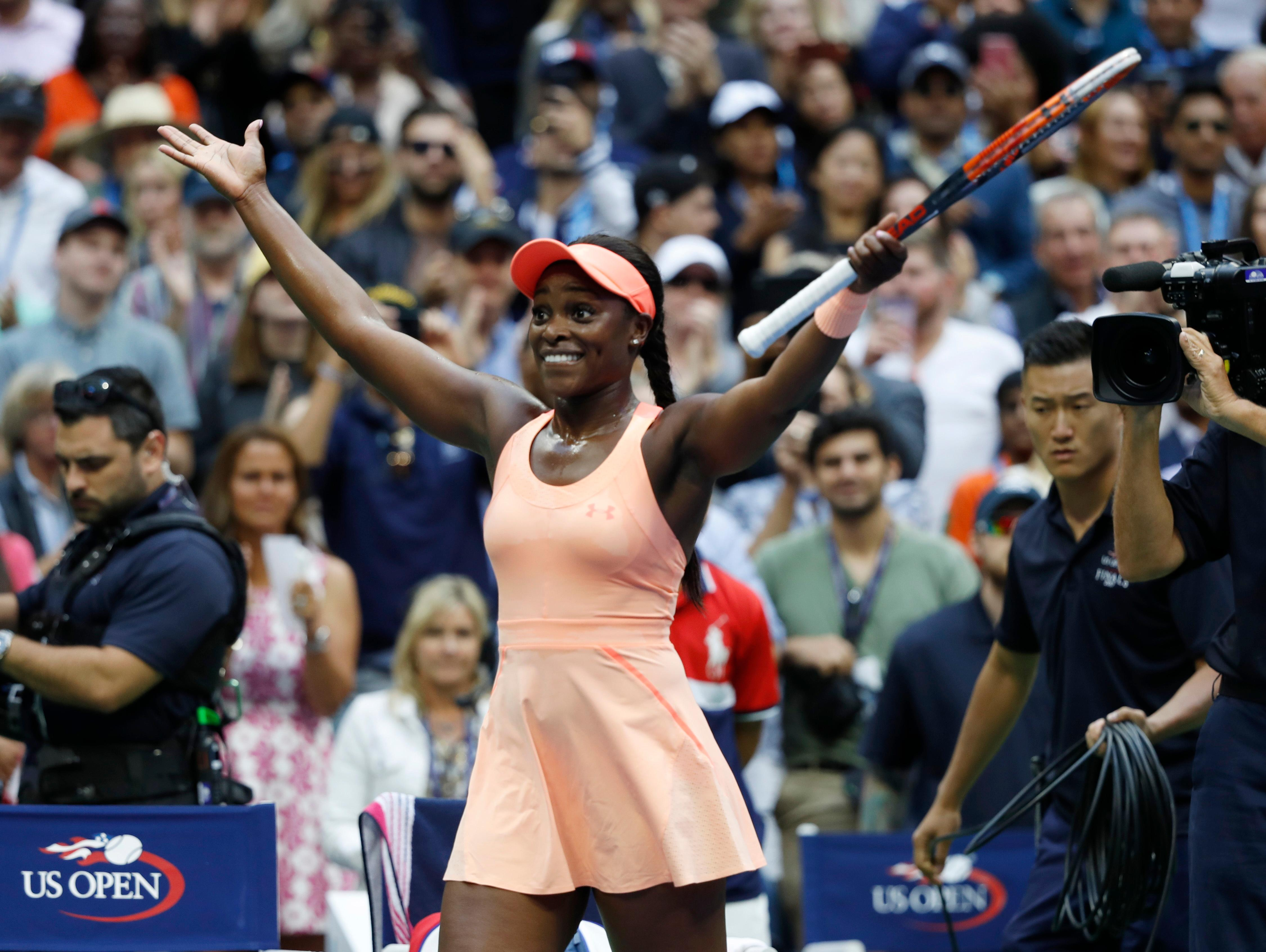Sloane Stephens, of the United States, reacts after beating Madison Keys, of the United States, in the women's singles final of the U.S. Open tennis tournament, Saturday, Sept. 9, 2017, in New York. (AP Photo/Adam Hunger)