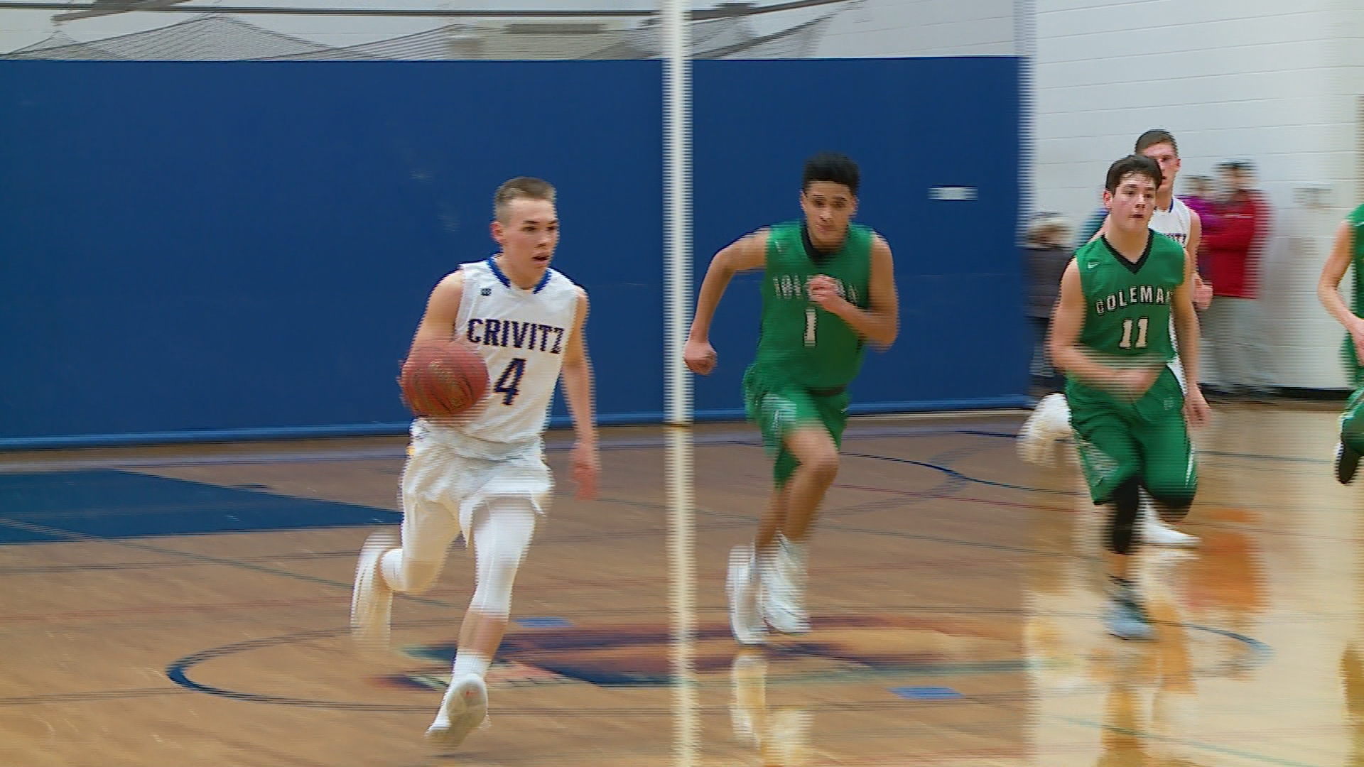 Crivitz guard Jaden Werber dribbles against Coleman in a boys regional semifinal game (PHOTO/WLUK){&amp;nbsp;}<p></p>