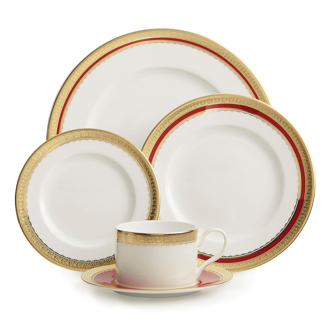Athena features a rich red band design with a sophisticated combination of matte and raised gold details. The craftsmanship of Athena will enhance special occasion table settings with rich detail. This set includes a dinner plate, a salad plate, a bread & butter plate, a teacup and a tea saucer. http://bit.ly/2AnmgeB
