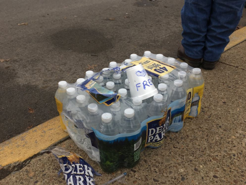 Free water was brought to those outside of the state Capitol. (WCHS/WVAH)<p></p>