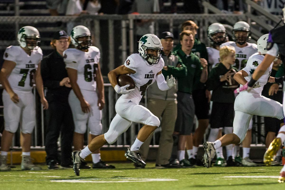 Sheldon Irish wide reciever Kimani Quade returns a punt in their matchup against the South Eugene Axemen at South Eugene high school, October 6, 2017. (Colin Houck/ For KVAL)