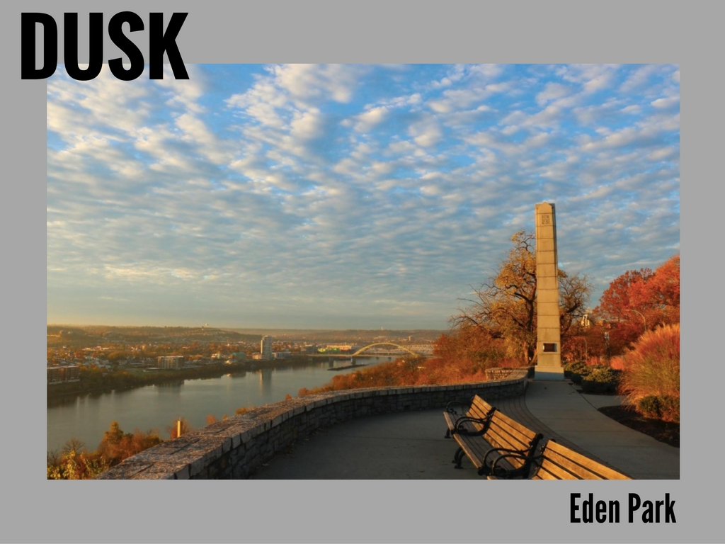 From the CAM, we'll dive straight into Eden Park. That will, fortunately enough, put us in the ideal spot for the beginning of magic hour. A late-afternoon view of the Ohio River snaking its way toward the city? Right on time. // IMAGE: Tommy Zipperstein