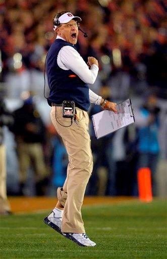 Auburn head coach Gus Malzahn reacts during the second half of the NCAA BCS National Championship college football game against Florida State Monday, Jan. 6, 2014, in Pasadena, Calif.