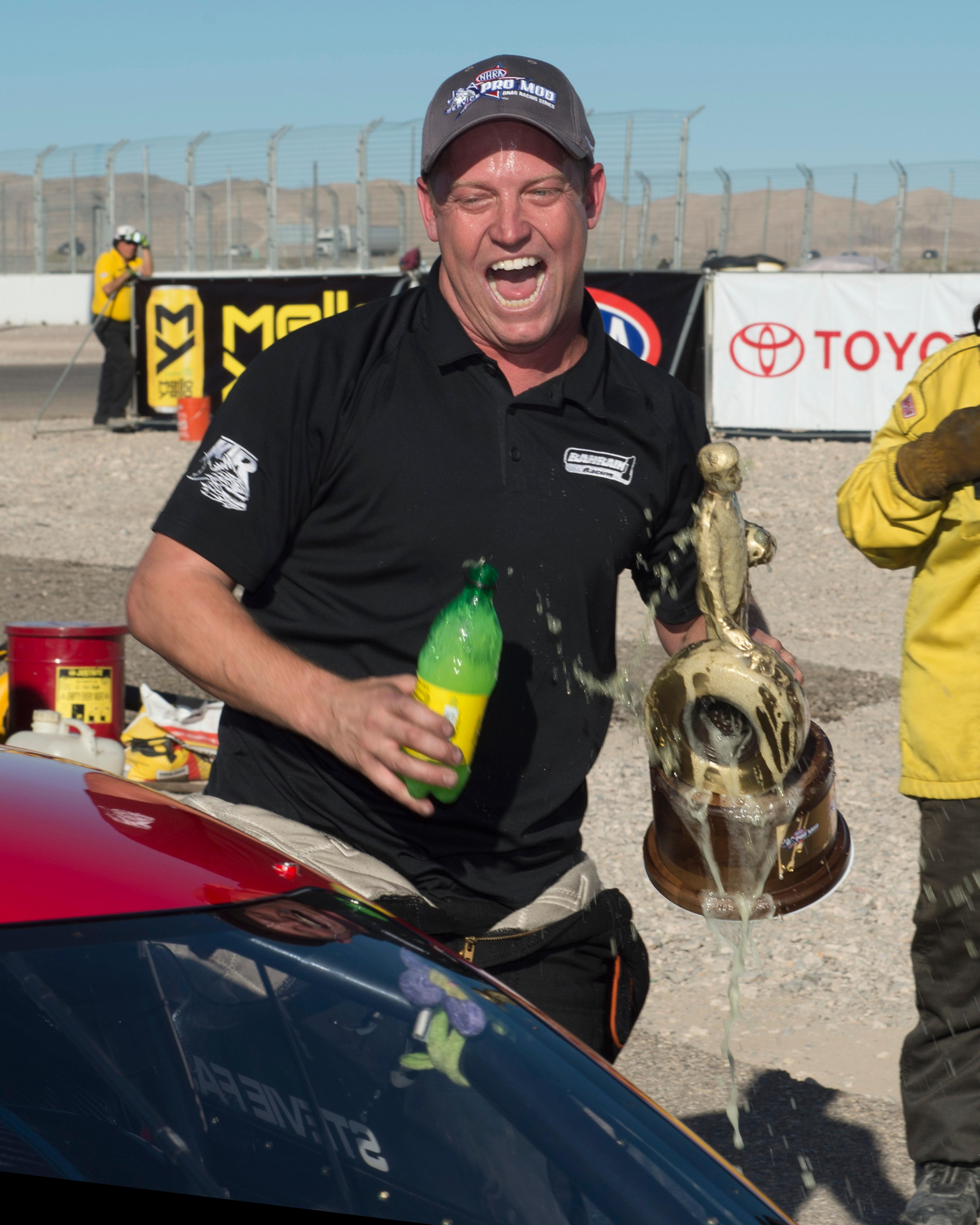 Pro Mod driver Steve Jackson celebrates his win at the NHRA Toyota Nationals Sunday, October 29, 2017, at The Strip at the Las Vegas Motor Speedway. CREDIT: Sam Morris/Las Vegas News Bureau