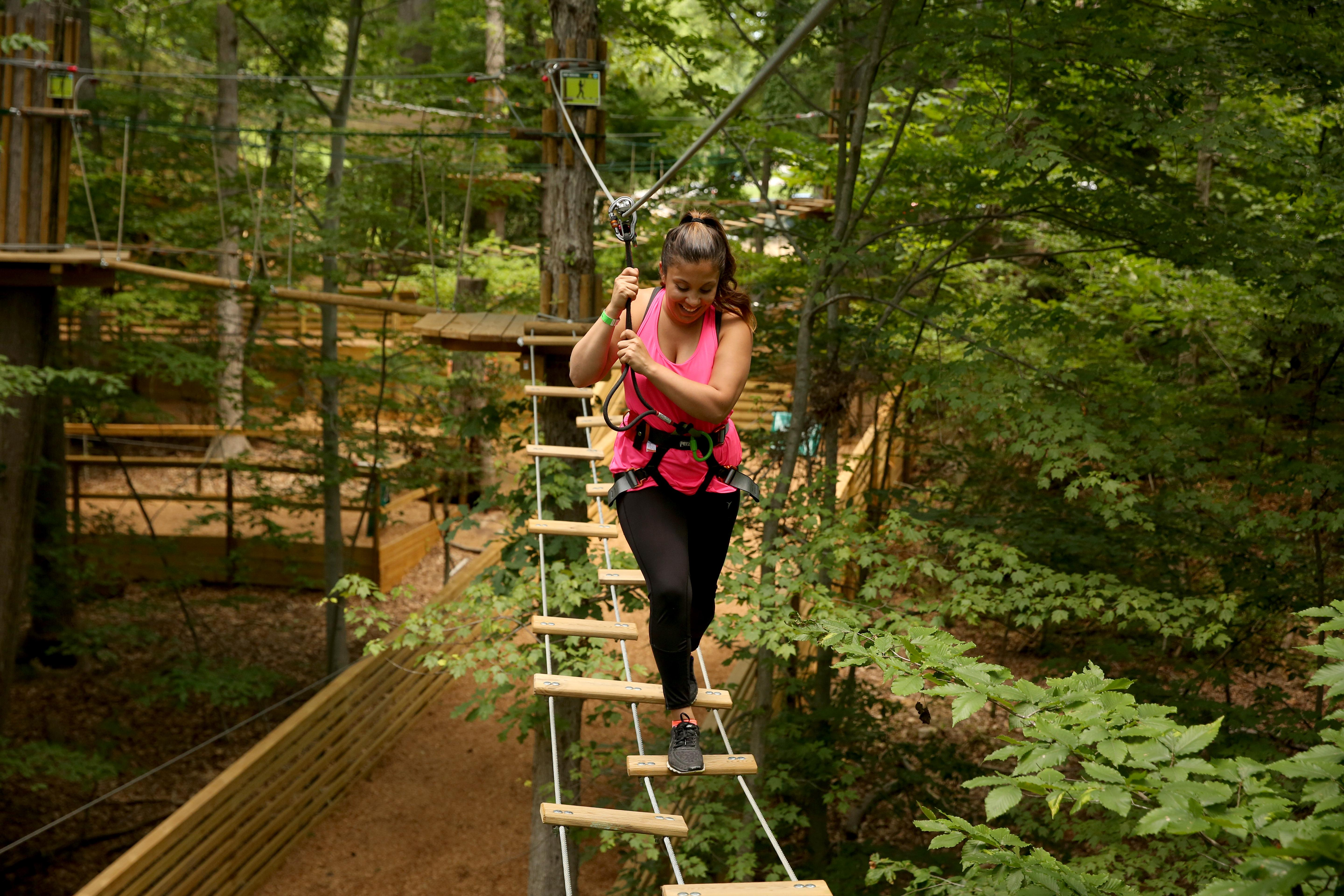 Are you looking for a fun/adventurous summer activity? Go Ape, a treetop course that navigates you through suspended obstacles and zip lines has opened their newest location in Springfield, Va at South Run Park. The course is a self-guided adventure that will take you about two to three hours to complete. Go Ape is $58 for anyone over the age of 18; ages 16-17 is $38; and $38 for ages 10-15. For more information on Go Ape visit their website: https://goape.com/adventures (Amanda Andrade-Rhoades/DC Refined)