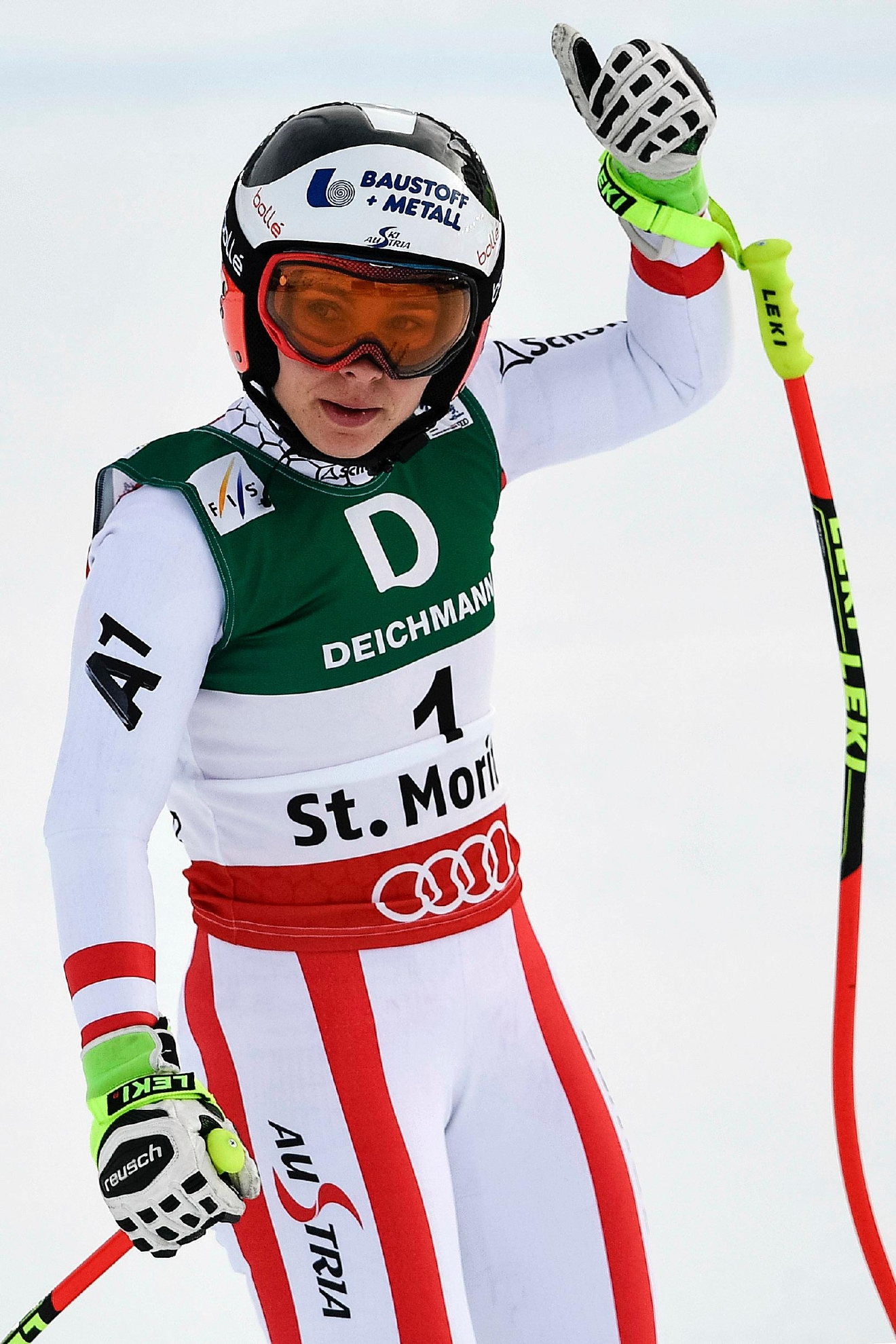 Nicole Schmidhofer of Austria reacts in the finish area during the women's downhill training at the 2017 Alpine Skiing World Championships in St. Moritz, Switzerland, Wednesday, Feb. 8, 2017. (Peter Schneider/Keystone via AP)