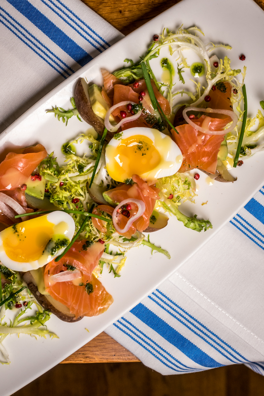 Citrus Cured Scottish Salmon: three minute egg, fingerling potatoes, and avocado / Image: Catherine Viox // Published: 1.23.20