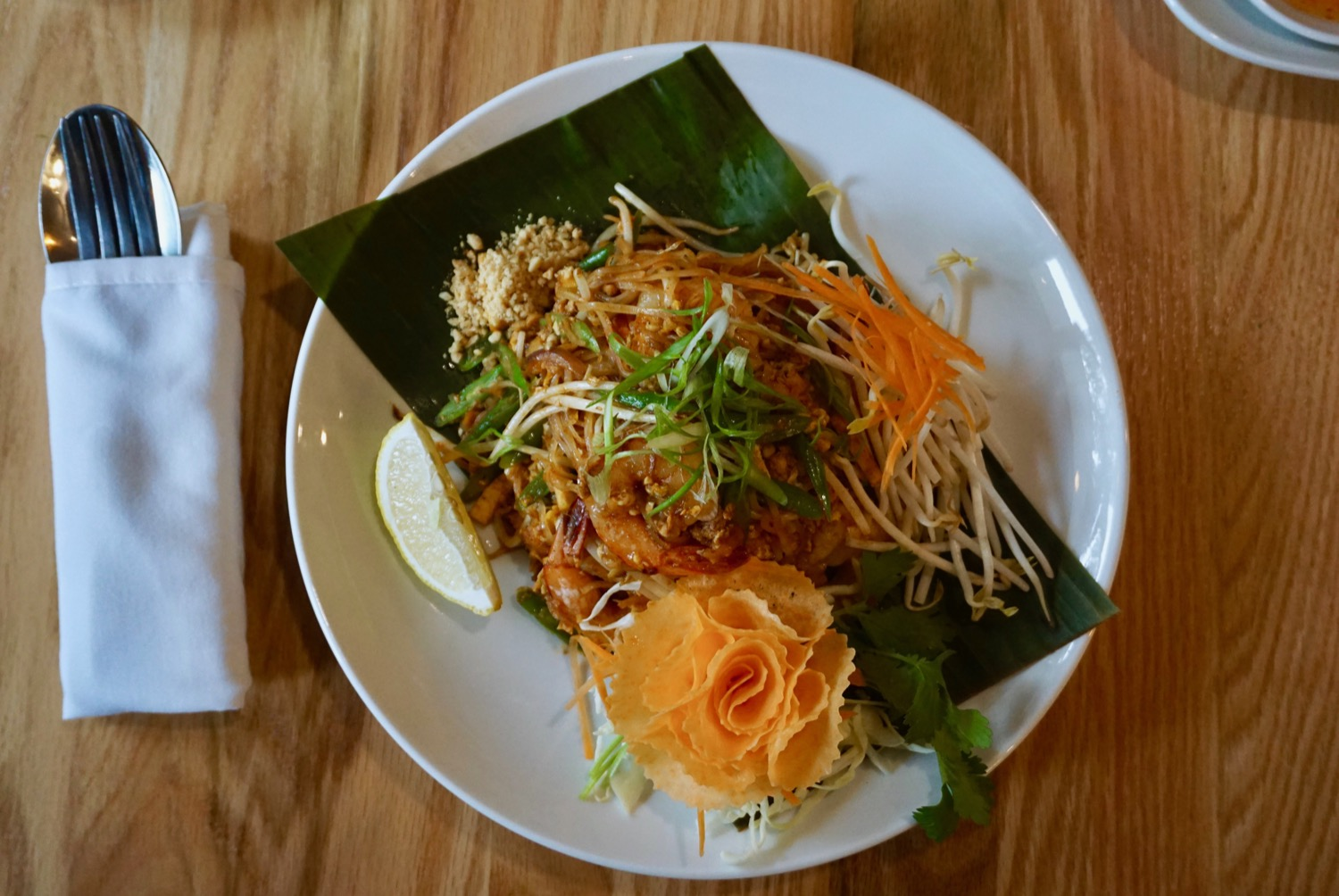 Pad Thai: Famous Thai noodles with COP, bean sprouts,  thin sliced string beans, chopped tofu, sweet radish, shallot, egg, peanut / Image: Brian Planalp // Published: 9.15.17