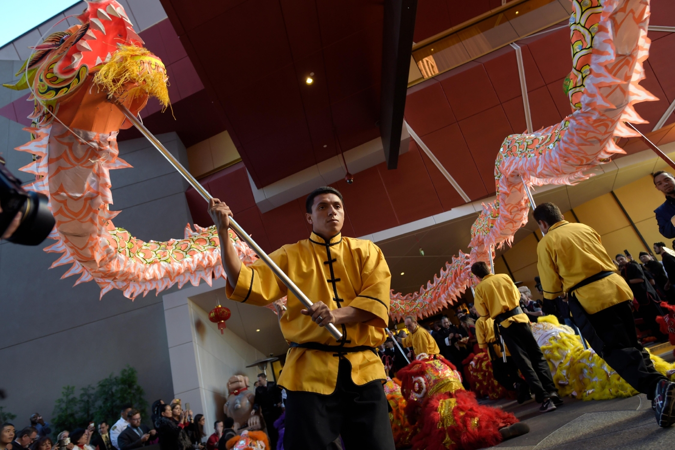 Members of the Lohan School of Shaolin wait to perform a dragon dance during the grand opening of the Lucky Dragon Hotel and Casino Saturday, Dec. 3, 2016. (Sam Morris/Las Vegas News Bureau)
