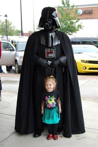 I will be walking my son around the neighborhood in my Vader, again. My son will be Master Chief from Halo 4. (the little girl pictured is just a fan)