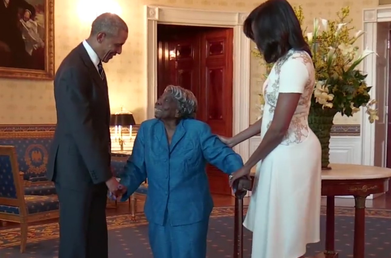 Virginia McLaurin dances with President Barack Obama and First Lady Michelle Obama at the White House. (The White House)