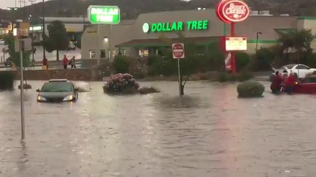 Cars got stuck in flooding near McKelligon and Mesa in west El Paso. (Kelly Anne Beile)Thumbnail