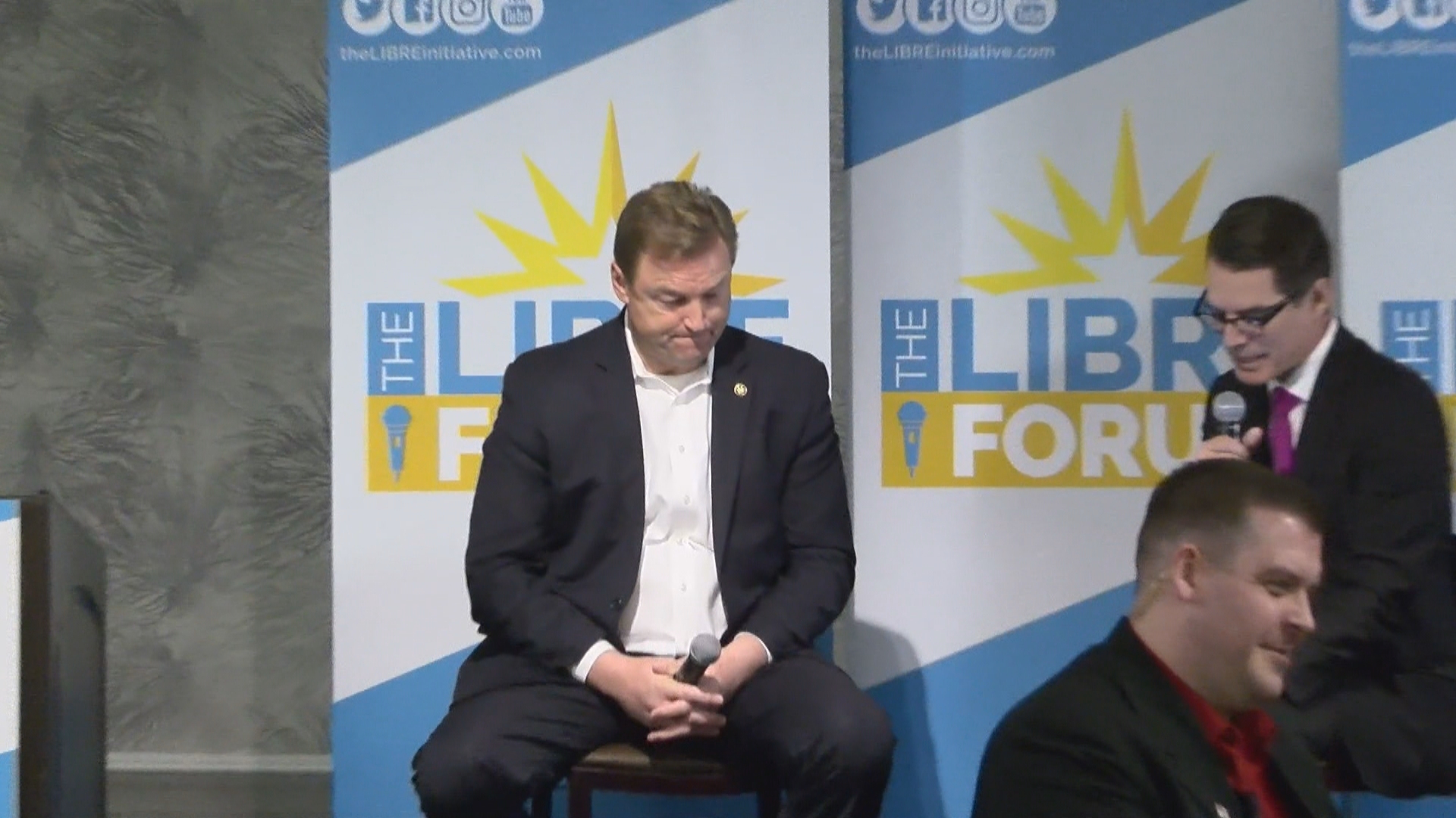 U.S. Sen. Dean Heller participates Saturday, December 2, 2017, in The LIBRE Initiative's Forum series at Palace Station in Las Vegas. (Corwin Hall/KSNV)