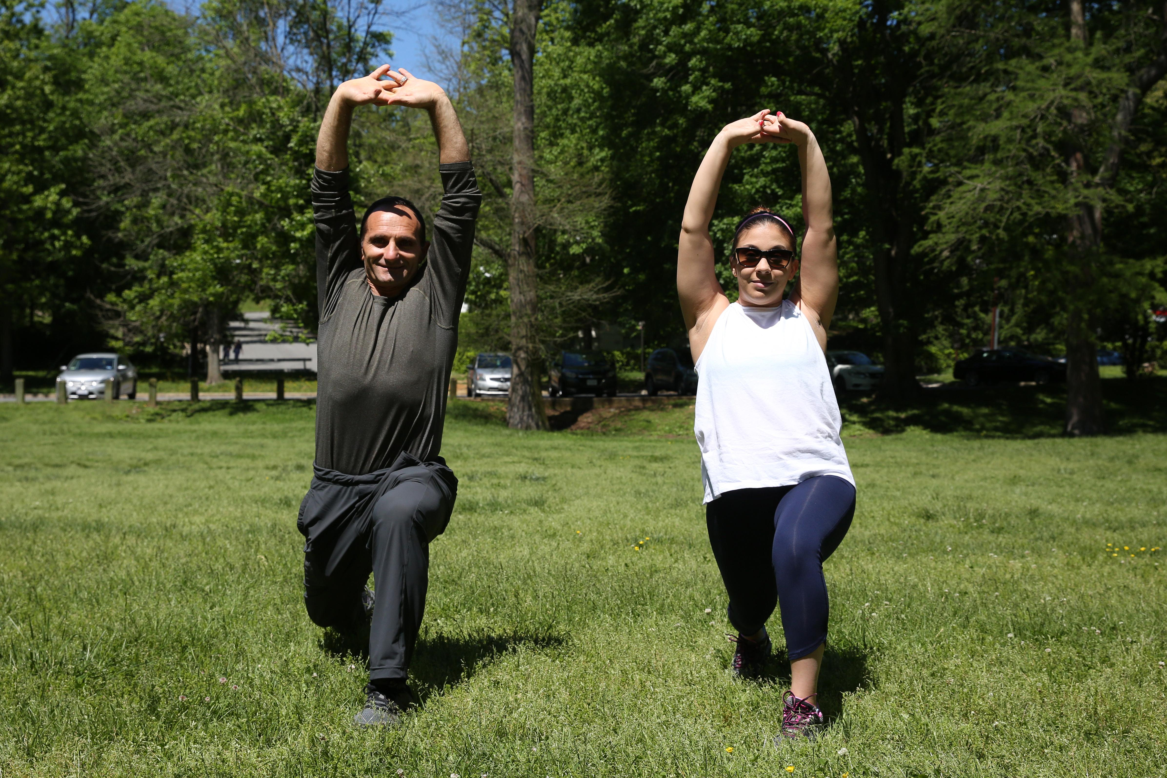 Everyone meet VELUXE personal trainer Beqir Gjoka  and assistant editor Tina Irizarry. They are going to show you some exercises you can do anywhere in the city without a gym. If you are interested in working with Beqir, please visit Veluxe.com (Amanda Andrade-Rhoades/DC Refined)