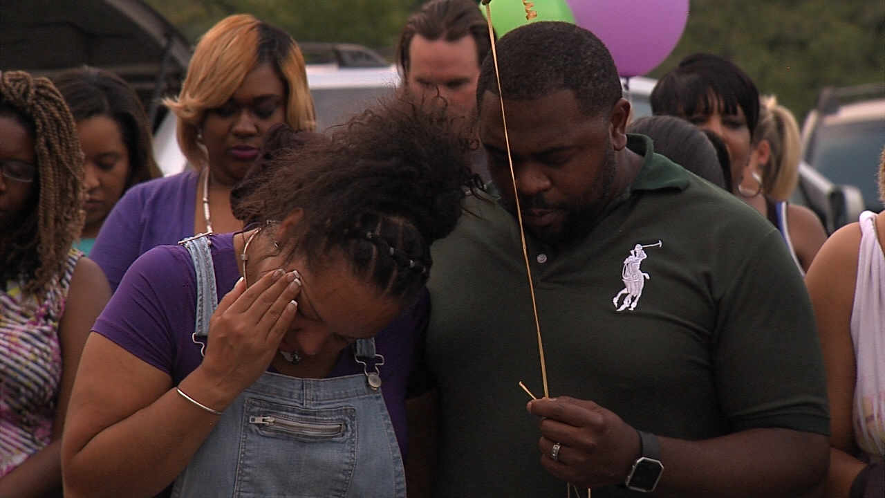 Family and friends honored Tony Hinkle, the man shot and killed in Brighton last weekend, with a candlelight vigil and a balloon release, Thursday, Sept. 1, 2016. (abc3340.com)