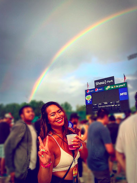 IMAGE: IG user @cocochloe_ / POST: I don't usually go to the ball park but when I do its to dance in the rain to @tiesto.