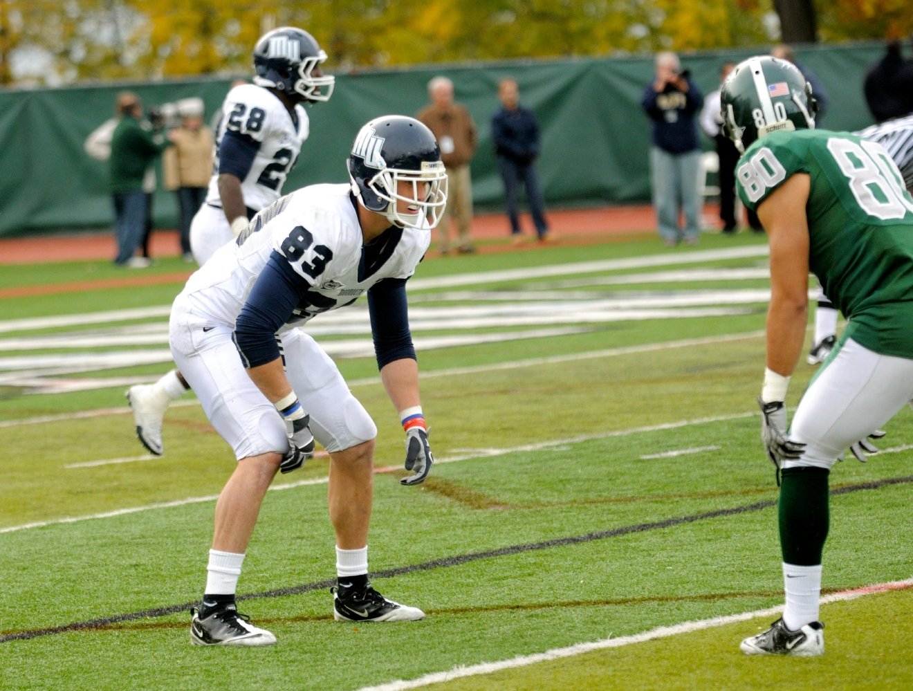 Hogan was pressed into service as a defensive back for the Hawks (Photo / Monmouth Athletics)