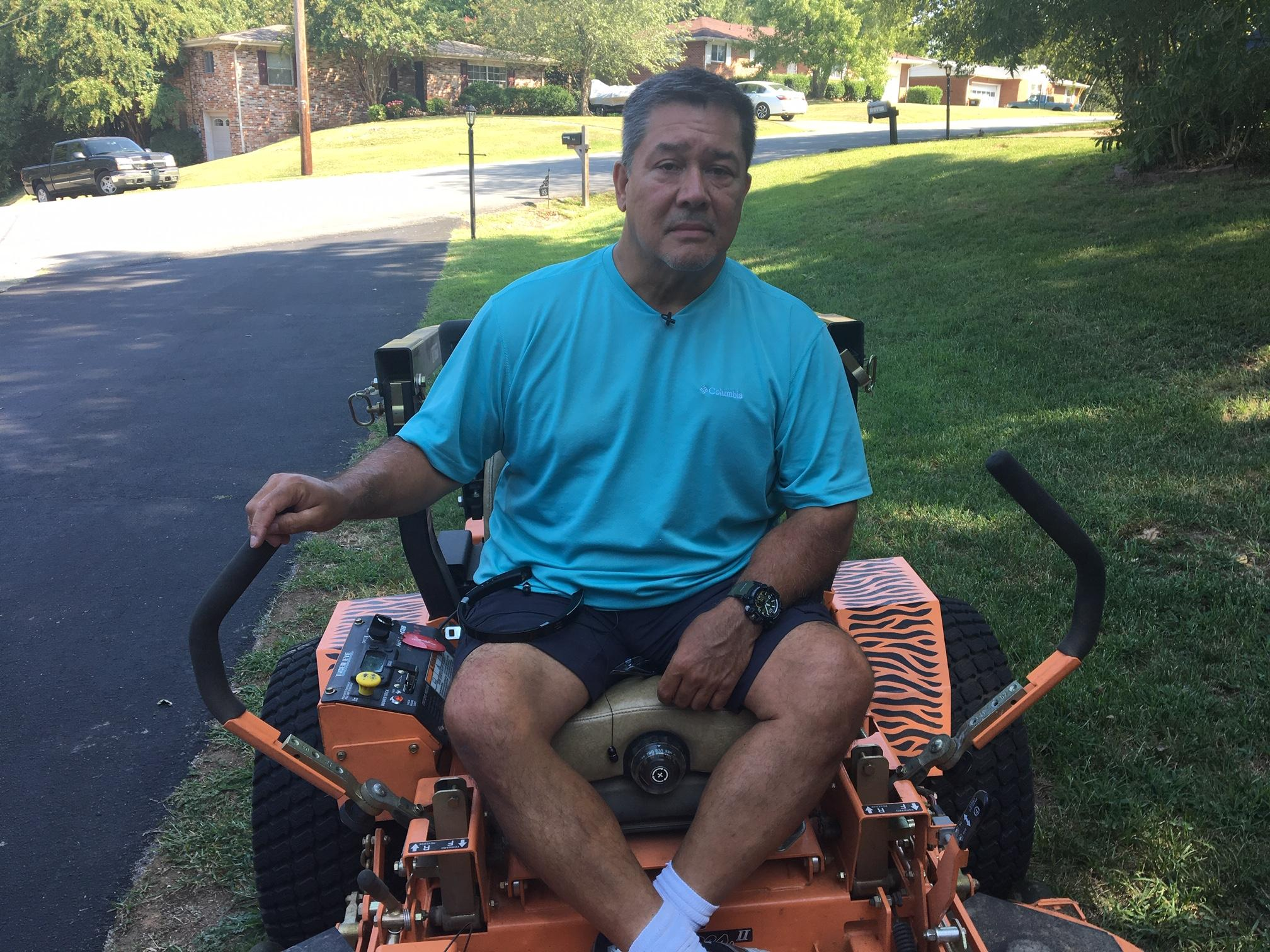 Chris Hays says when he found out his friend's cancer diagnoses, he fired up his lawnmower and went to work. (Image: WTVC)