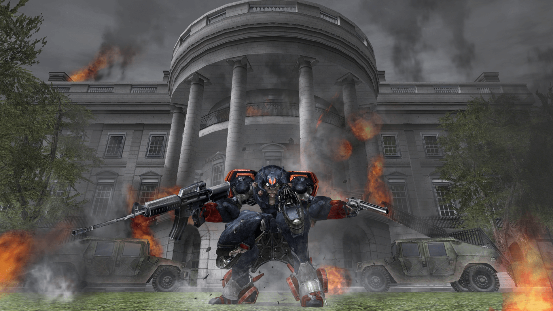 In Metal Wolf Chaos XD, the POTUS travels around the U.S. in Air Force One and fights off a villainous coup by the Vice President in an effort to restore democracy to the United States. (Screenshot courtesy Devolver Digital via cosmocover.com)