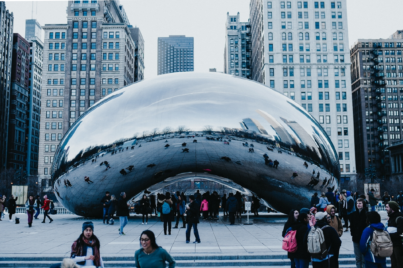 """The Bean"" is the nickname for Cloud Gate, a public sculpture by Indian-born British artist Anish Kapoor. It's the centerpiece at Millennium Park in the Loop. / Image: Brianna Long // Published: 3.19.17"