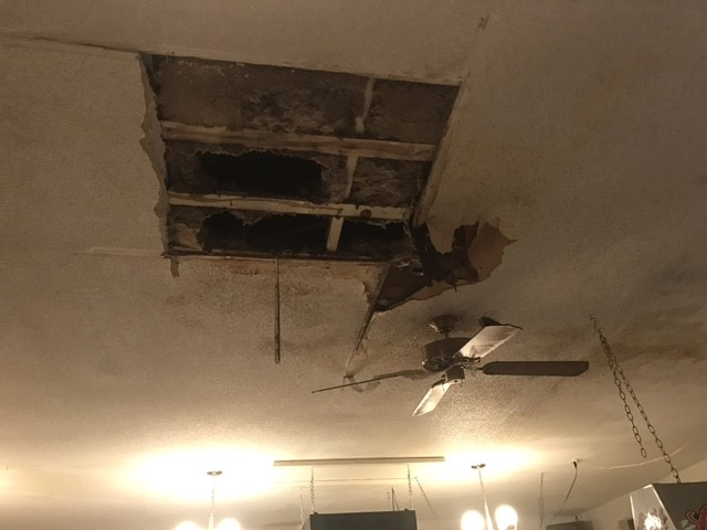 Damage to ceiling in restaurant. (NTV/Ifesinachi Egbosimba)